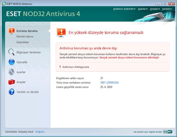 Nod32 ea page status 02 Program düzgün çalışmazsa yapılacaklar