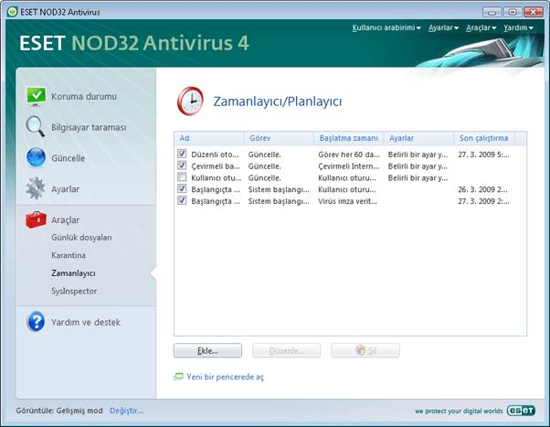 Nod32 ea scheduler info Zamanlayıcı bilgileri