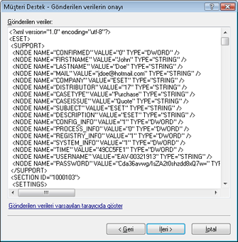 Nod32 ea support detect Gönderilen verilerin onayı
