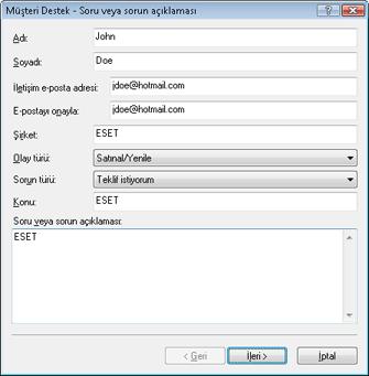Nod32 ea support request Sorun giderme