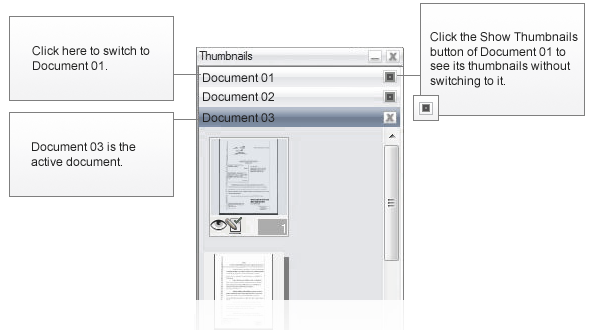 Omnipage eng thumbnails diagram About handling multiple documents
