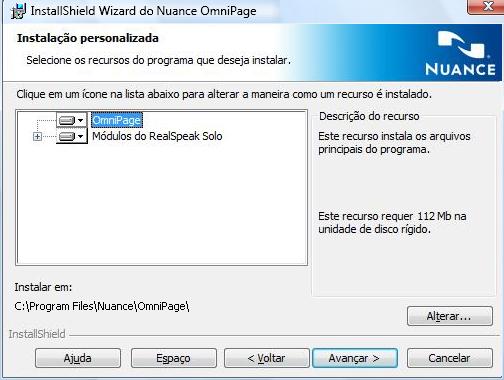 Omnipage eng installshield custom Instalação de módulos de fala