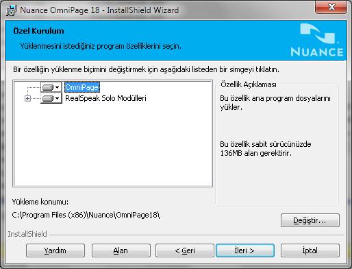 Omnipage eng installshield custom Konuşma modüllerini yükleme