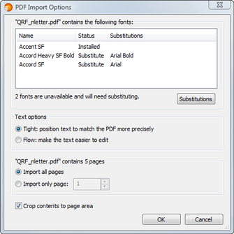 PagePlus dlg pdfimportoptions Importing PDF files