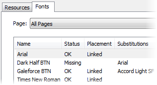 PagePlus dlg resourcemanager fonts Checking resources and  fonts used