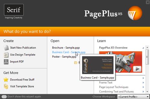 PagePlus startup wizard Startup Wizard