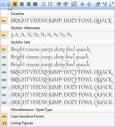 PagePlus tbr contexttext opentypefeatures Using fonts