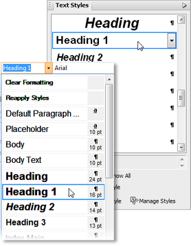 PagePlus text styles Using text styles