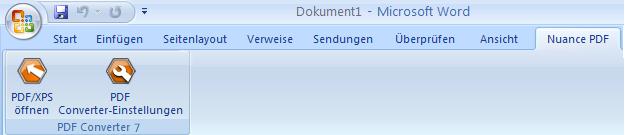 PDF Converter eng word add in converter Die Anwendung aus Microsoft Word starten (Schaltfläche PDF/XPS öffnen)