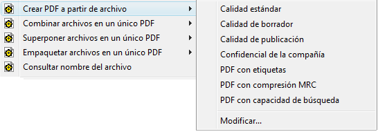PDF Converter eng shortcut expanded Modificar perfiles