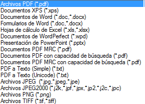 PDF Converter supported file types Asistente de PDF Create