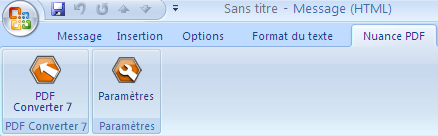 PDF Converter eng outlook add in converter Lancement depuis Microsoft Outlook
