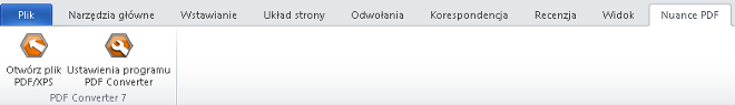 PDF Converter eng word add in converter Uruchamianie konwersji z poziomu programu Microsoft Word (przycisk Otwórz plik PDF/XPS)