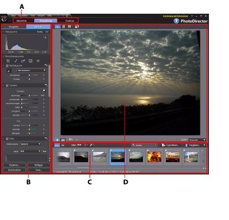 Photo Director workspb2 Der Arbeitsbereich von PhotoDirector