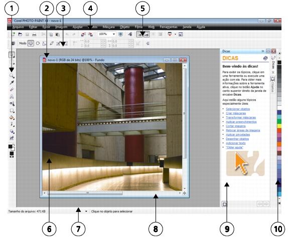 Photo Paint workspace p60 Explorar a janela do aplicativo
