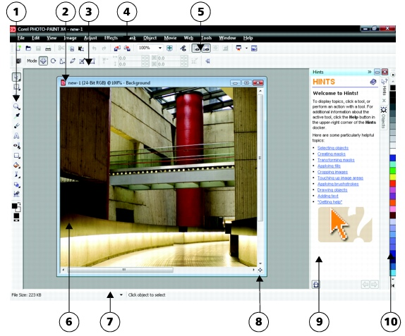 Photo Paint workspace p28 Exploring the application window