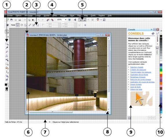 Photo Paint workspace p61 Présentation de la fenêtre d'application