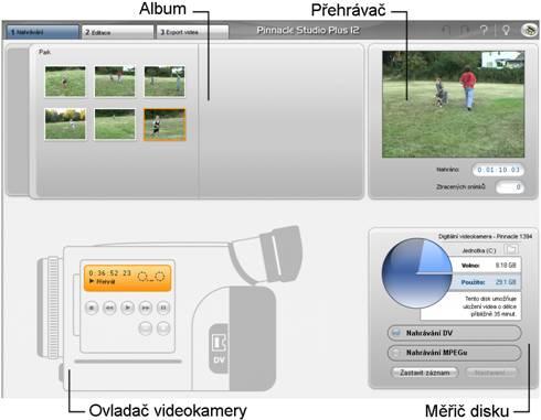 Pinnacle Studio image001 Rozhraní režimu nahrávání