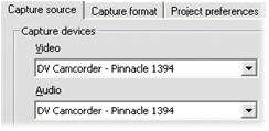 """Pinnacle Studio image001 V režimu Nahrávání se zobrazuje chyba """"Videozařízení nenalezeno""""."""
