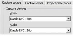"""Pinnacle Studio image002 V režimu Nahrávání se zobrazuje chyba """"Videozařízení nenalezeno""""."""