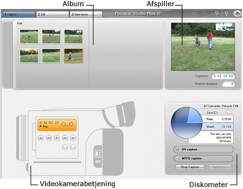 Pinnacle Studio image001 Brugerflade til videoimport