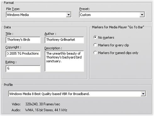 Pinnacle Studio image001 Indstillinger for fremstilling af Windows Media fil