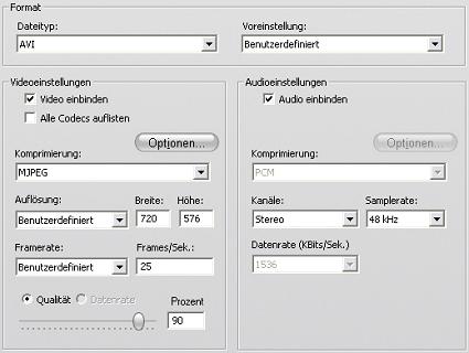 Pinnacle Studio image001 Datei erstellen   Einstellungen