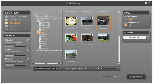 Pinnacle Studio image001 Import from file based media