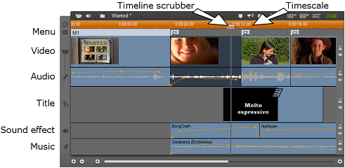 Pinnacle Studio image009 Timeline view