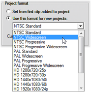 Pinnacle Studio image001 Project preferences