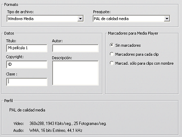 Pinnacle Studio image001 Ajustes de Crear archivo Windows Media