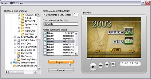 Pinnacle Studio image001 Videon tuonti DVD levyltä