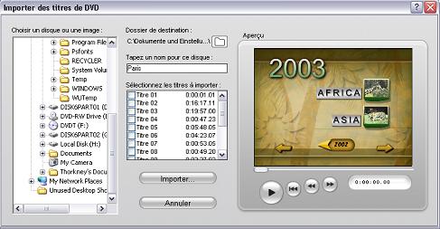 Pinnacle Studio image001 Importation de video a partir d'un DVD