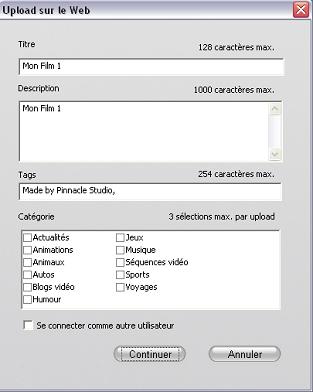 Pinnacle Studio image002 Sortie pour le Web