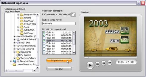 Pinnacle Studio image001 Videó importálása DVD lemezről
