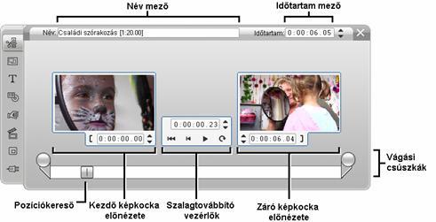 Pinnacle Studio image002 Vágás a Klip tulajdonságai eszközzel