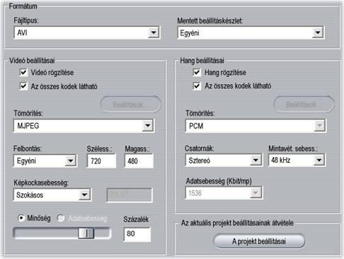 Pinnacle Studio image001 Fájl készítésének beállításai