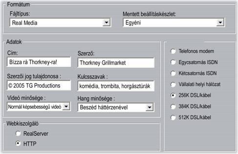 Pinnacle Studio image001 Real Media fájlok készítésének beállításai