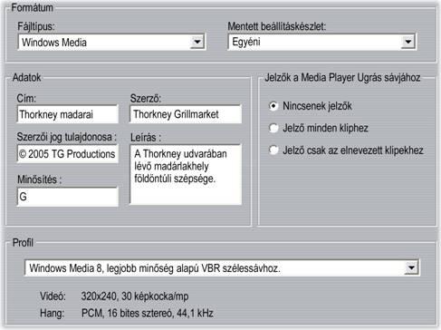 Pinnacle Studio image001 Windows Media fájlok készítésének beállításai