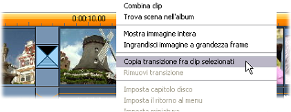 Pinnacle Studio image002 Il comando Copia transizione fra clip selezionati