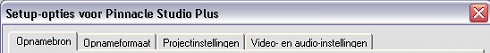 Pinnacle Studio image001 Setup opties