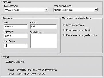 Pinnacle Studio image001 Instellingen van Windows Media bestand maken