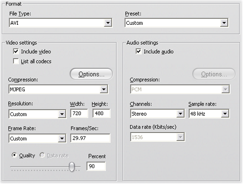 Pinnacle Studio image001 Make File settings (Lage fil innstillinger)