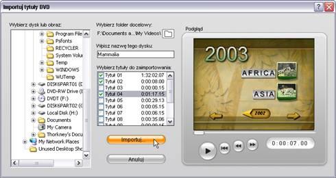 Pinnacle Studio image001 Importowanie wideo z dysku DVD