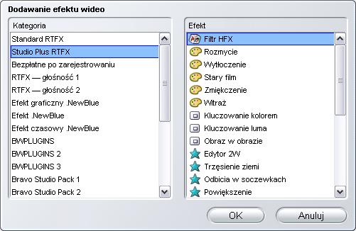 Pinnacle Studio image004 Praca z listą efektów