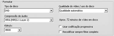 Pinnacle Studio image001 Configurações em Criar disco