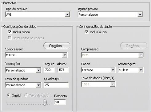 Pinnacle Studio image001 Configurações em Criar arquivo
