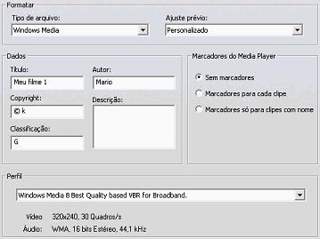 Pinnacle Studio image001 Configurações em Criar arquivo Windows Media