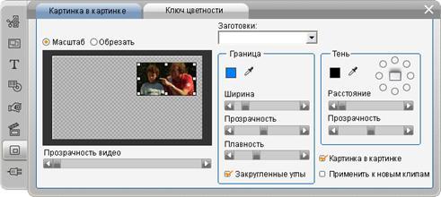 Pinnacle Studio image003 Инструмент «Картинка в картинке»
