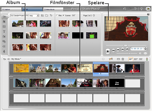 Pinnacle Studio image001 Redigeringsläget (Edit mode)